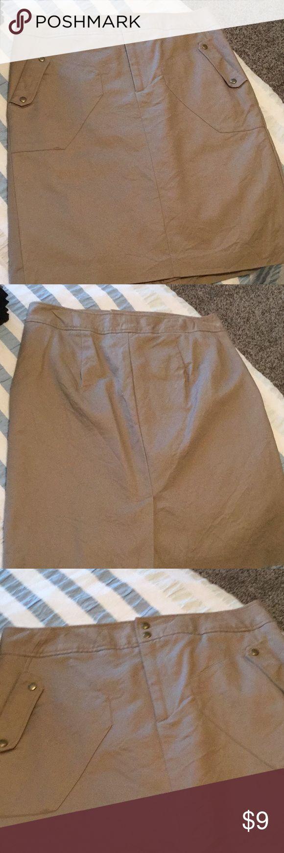 Khaki skirt Khaki pencil skirt. Gold accents. Two functional pockets. Worthington Skirts Pencil