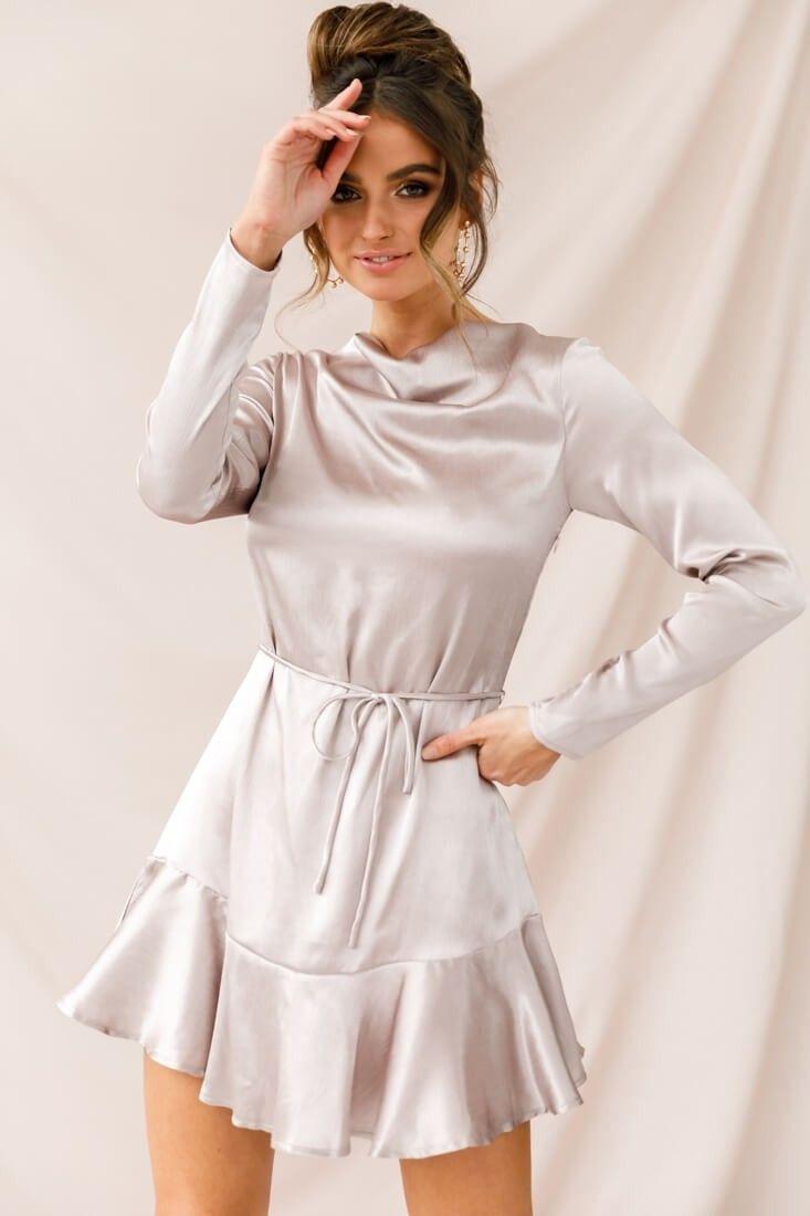 Interstellar Ruffle Hem Long Sleeve Dress Champagne Silk Dress Long Long Sleeve Silk Dress Long Sleeve Short Dress [ 1100 x 733 Pixel ]
