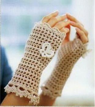 Guantes de crochet sin dedos.