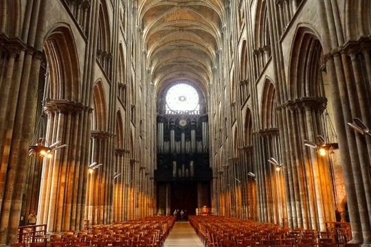 France : the nave in Rouen cathedral is early gothic