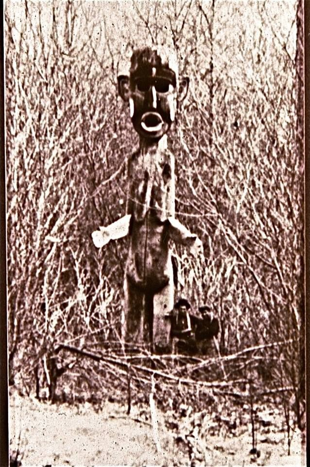 This is one of two 30-foot high Tsonoqua (Dzonoqua) figures which stood on either side of a river near or on Vancouver Island, circa 1900. What did it mean? Beware or welcome, it is one of the most remarkable works of monumental sculpture from the old Northwest Coast I have ever seen, three times the height of a housepost and like nothing I could ever have imagined. via Barry Herem FB