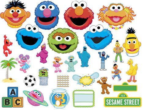 INSTANT DOWNLOAD Sesame Street Characters, Frames, Elements And Head Clip Art