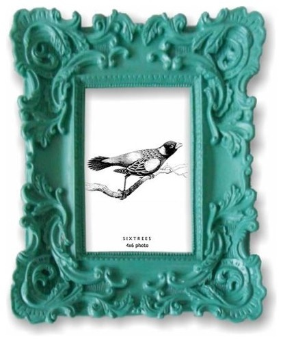Paint a Baroque Frame a bold color for a fun, eclectic frame.  Looks great with black & white photos