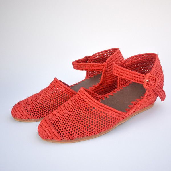 handmade raffia wedge red