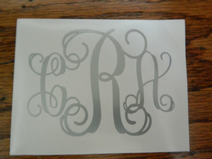 "Peel and Stick Interlocking Monogram letters SIZE 3""x4"" ONLY for ..."
