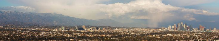 Panorama of the San Gabriel Mountains and Downtown LA [OC][15803  3189]