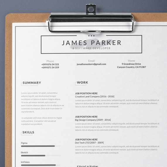 Professional Resume Template With Cover Letter Minimalist Etsy Resume Template Professional Resume Template Word Resume Template