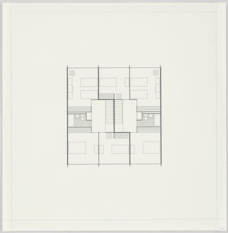 Ludwig Mies van der Rohe. Pavilion Apartments and Town Houses, Lafayette Park, Detroit, MI, Plan (Two-story town house. Second floor.). 1955-63