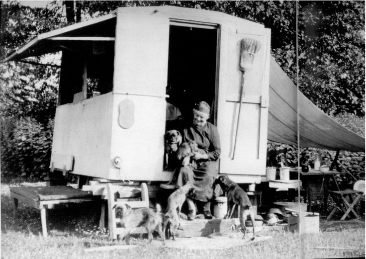 Emily Carr in her painting caravan