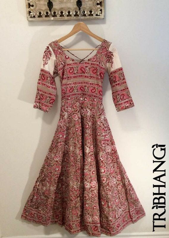 Jaipur Block print Cotton Anokhi style anarkali, bohemian maxi dress, Moghul inspired ethnic indian dress