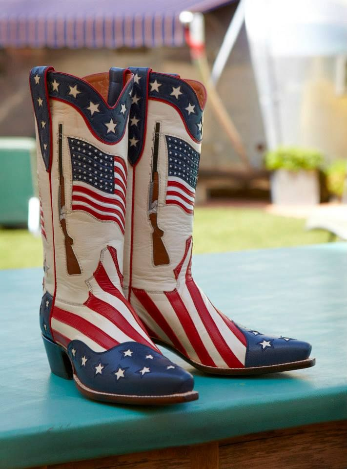 Someone's gonna be ready for the 4th. Custom boots @ Rocketbuster, TX