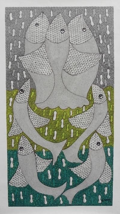 Gond Fishes Painting