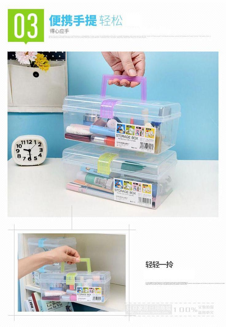 Многофункциональный прозрачный пластиковый ящик для хранения рабочего стола переносной ящик с крышкой ящик для хранения небольшая коробка отделки коробка ящик для хранения-Таобао