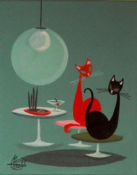 EL GATO GOMEZ PAINTING RETRO 1950S EAMES KNOLL MID CENTURY DANISH MODERN CATS in Paintings | eBay