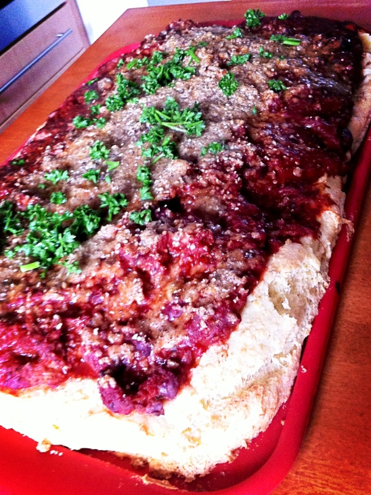 Gluten free dairy free pizza base with ruby red chilli topping