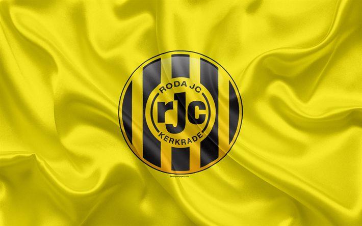 Download wallpapers Roda JC Kerkrade, 4K, Dutch football club, logo, emblem, Eredivisie, Dutch football championship, Kerkrade, Netherlands, silk texture, Roda FC