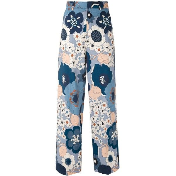 Chloe Floral Pants found on Polyvore featuring pants, bottoms, clothing /, kirna zabete, floral print pants, zip pants, floral wide leg trousers, zipper trousers and cotton pants