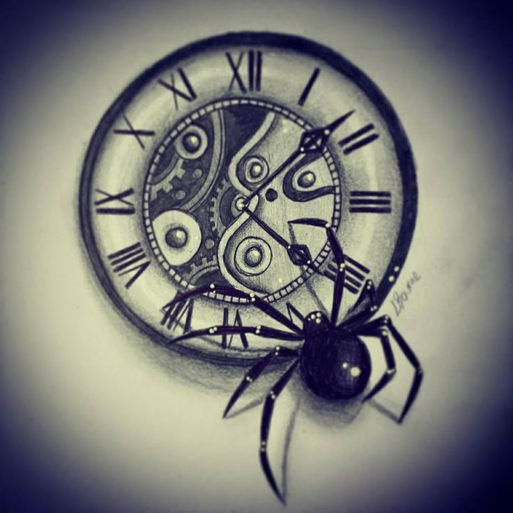 clock and spider tattoo design by slightlyannoyed cake clock compass pinterest spider. Black Bedroom Furniture Sets. Home Design Ideas