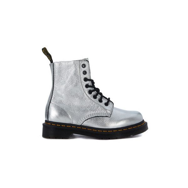 Dr Martens 8 eyelets silver leather ankle boots Low Ankle Boots ($220) ❤ liked on Polyvore featuring shoes, boots, ankle booties, low boots, silver, women, ankle boots, silver ankle boots, short boots and low ankle boots