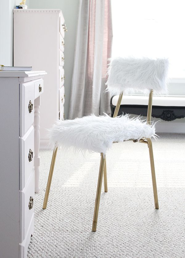 DIY Fur Desk Chair: One Room Challenge, Week 5!   Less Than Perfect Life of Bliss   home, diy, travel, parties, family, faith