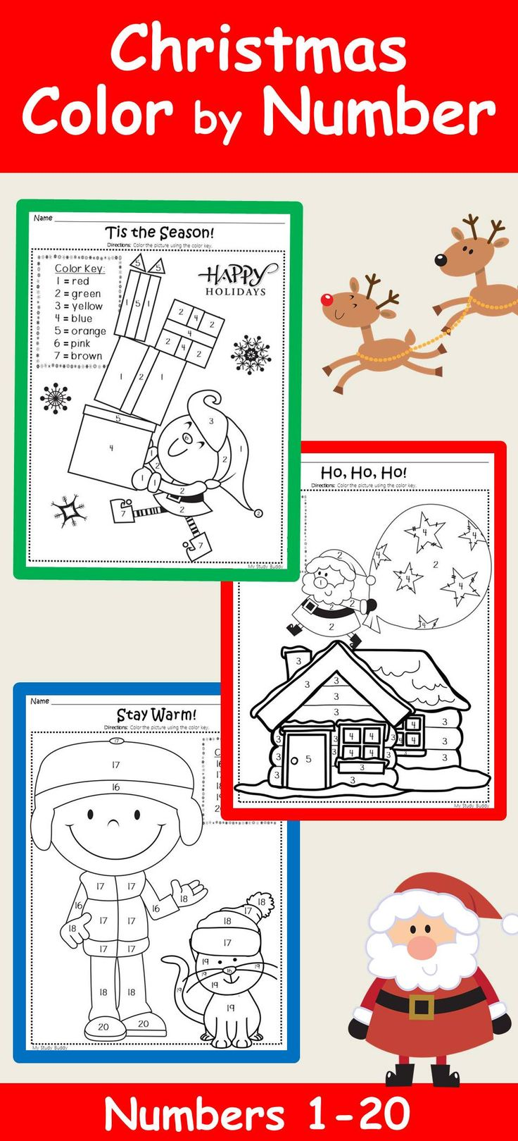 Your students will enjoy these Christmas coloring pages! The sheets all have a Christmas/winter theme and are a fun way for students to practice number recognition and color words. All printables require NO PREP and can be used for morning work, centers, when students finish their work early or anytime you need a fun sheet in the weeks leading up to the holiday break!