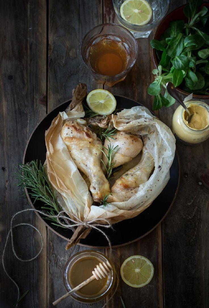 pollo al cartoccio con senape e miele