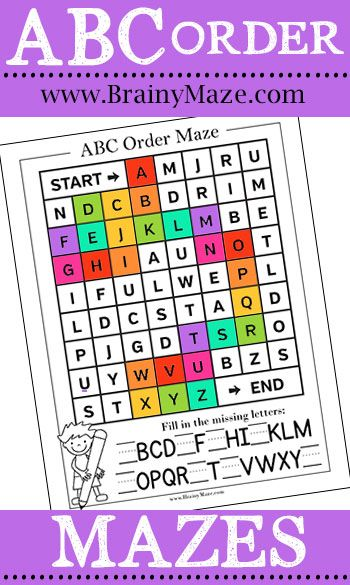ABC Order Worksheets, Mazes, Games and Activities. Free alphabetical order worksheets for kids #buildinfinemotor