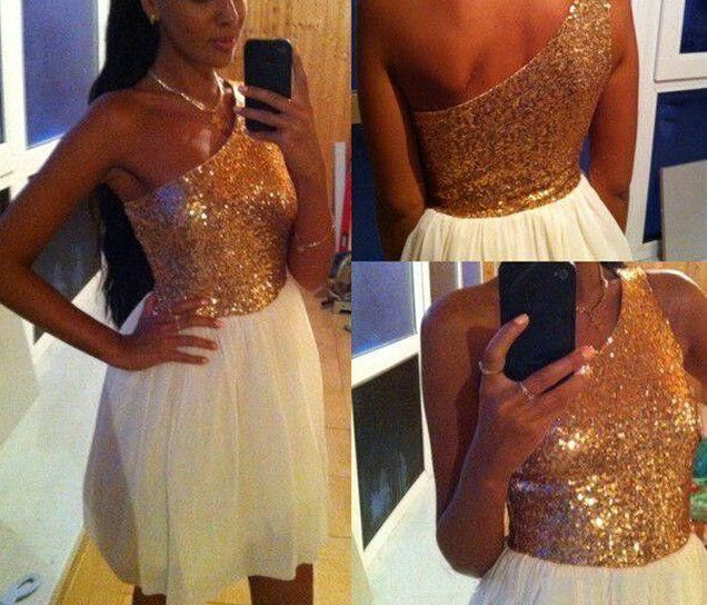 Custom Made 8th Grade Homecoming Dresses One-Shoulder Chiffon with Gold Sequined Girl's Graduation Gowns Custom Made Vestidos