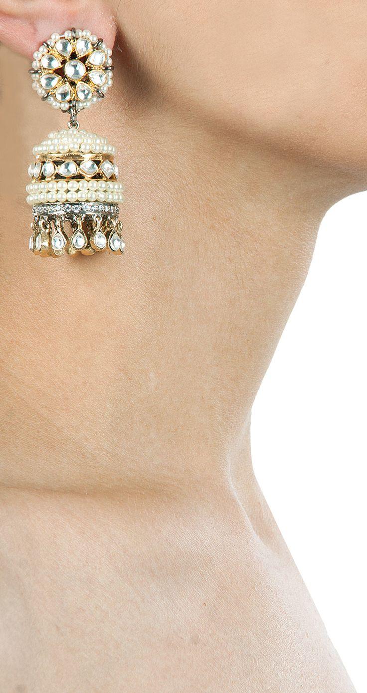 Pearl jhumka earrings by VASUNDHARA. Shop now at perniaspopupshop.com