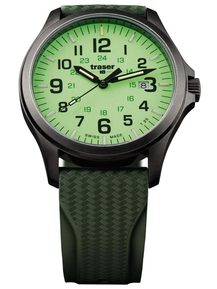 traser P67 Officer Pro GunMetal Case Lime Dial Green Rubber Strap Men's Sport Watch 107424