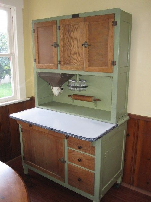 Amazing 1920's kitchen Hoosier cabinet. Flour bin and sifter with funnel into your mixing bowl.