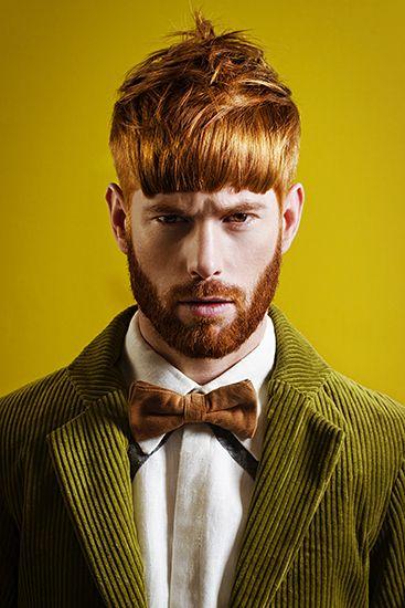 Coiffure Award 2014 || Photo: Melissa Houben || Model: Harm @ Maxmodels || Hair: Esther Schreurs || Mua: Lana Houthuijzen || Styling: Christina Guseva || Man || Male Model || Ginger || Redhead || Beard || Fashion || Hairdresser || Haircut || Green || Yellow ||