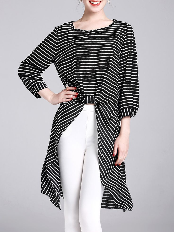 #AdoreWe StyleWe Tunics - YIYIQI Stripes 3/4 Sleeve High Low Crew Neck Tunic - AdoreWe.com