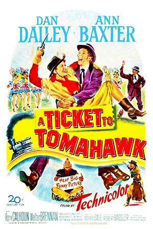 1950: Marilyn Monroe movie poster for the film A Ticket to Tomahawk, starring Dan Dailey & Anne Baxter  .... #marilynmonroe #movieposter #filmposter #pinup #iconic #movieclassic #monroe #1950s #vintageposter