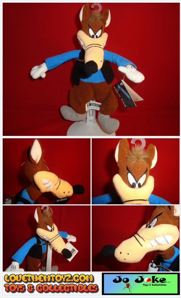 UNIQUE TOY & CARTOON COLLECTIBLES-WARNER BROS STUDIO ST-TEX AVERY-THE WOLF BEAN PLUSH-NEW/TAGS-1999-RETIRED-RARE