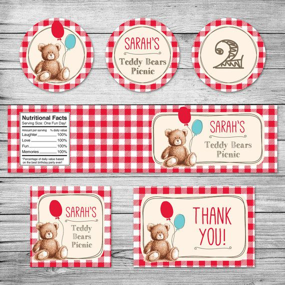 Teddy Bears Picnic red gingham party pack / Cup cake toppers / Water bottle label / Food label / Favor labels / Printable labels
