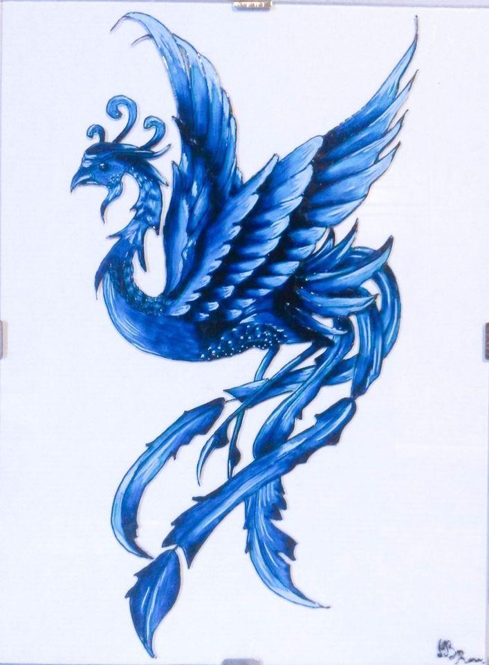 Fenice Blu - Dipinto a mano su vetro 18 × 24 cm
