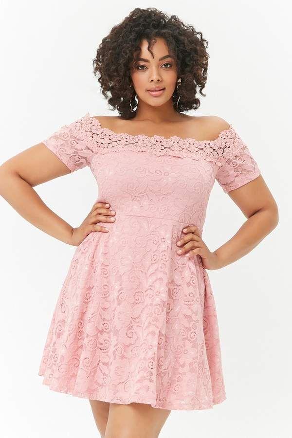ab8fb954b90c Forever 21 Plus Size Off-the-Shoulder Lace Mini Dress. Plus size dress