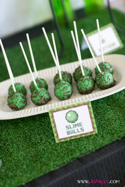 Slimeball cake pops at a Minecraft boy birthday party!  See more party ideas at CatchMyParty.com!
