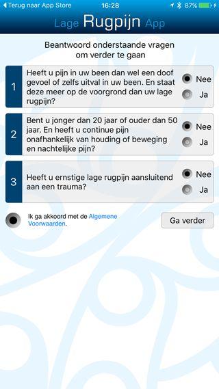 Lage Rugpijn App: de vragenlijst
