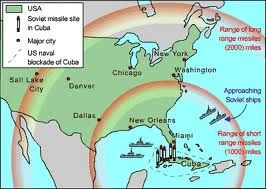 a map showing the range of soviet missiles if launched from cuba during the cuban missile crisis