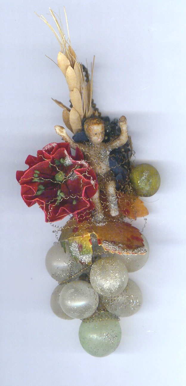 Wax And Sebnitz Ornament With Glass Grapes Lt 19th C Germany Collection Of  Linda Pastorino