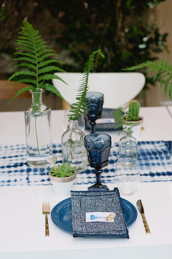 Indigo inspired bridal shower | Photo by John Newsome | Read more -  http://www.100layercake.com/blog/?p=78770