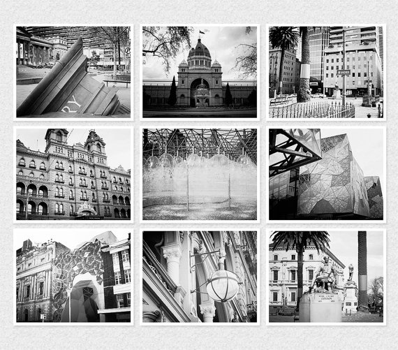 Melbourne city set of 9 prints 5 x 7 color or black and for Gifts for landscape architects