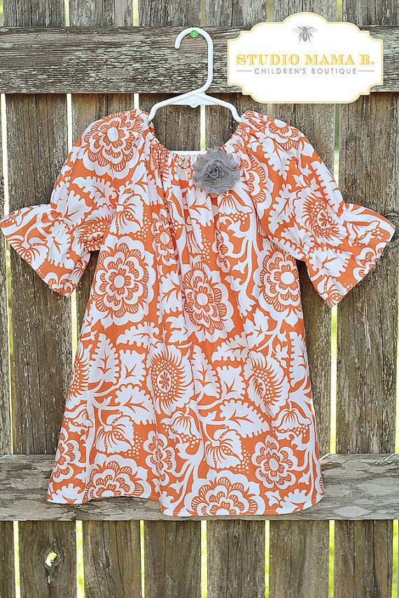MADE TO ORDER Burnt Orange Fall Thanksgiving Sophie Dress 3/4 Sleeves Back to School Pictures Toddler Girls Joel Dewberry Heirloom Fabric on Etsy, $27.00