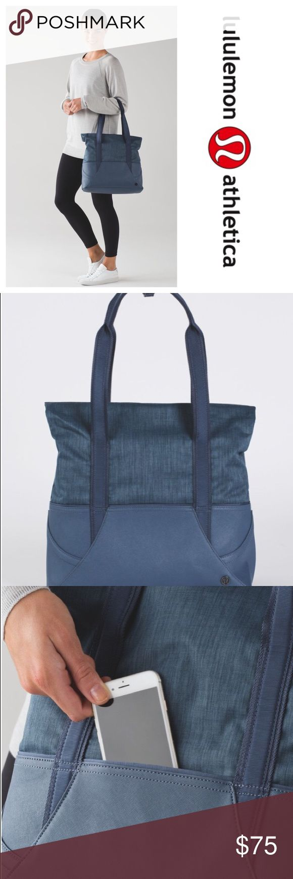 Grab and Go Tote - Like New! Astro Blue Color! This grab-and-go tote was designed with a fold-over top for maximum storage on busy days. Fabric is water-repellent, durable, and easy to wipe clean. Has a fuzzy outter compartment for your phone or glasses so they don't get scratched- and has a loop to keep the straps together for comfort, if you want to use it!  Bag was used 3 times until I realized I needed more space for my yoga blocks! lululemon athletica Bags Totes