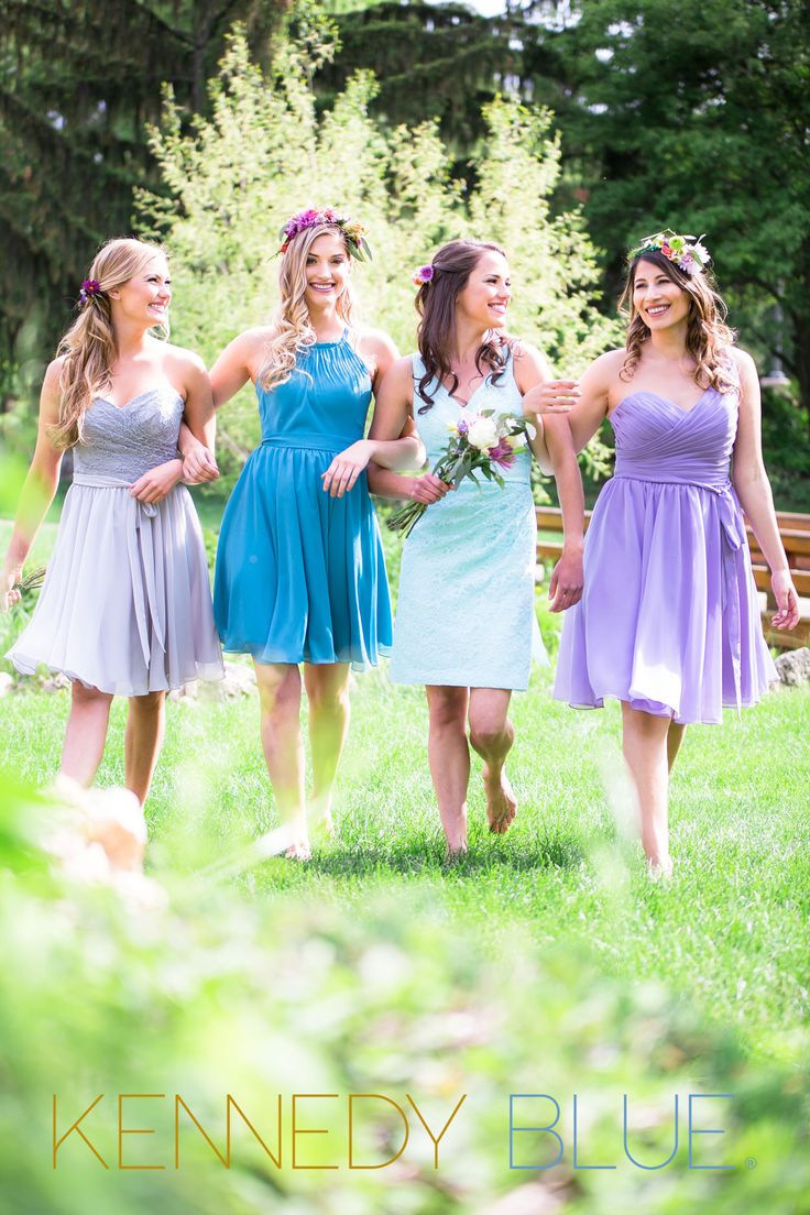 Love these mix and match bridesmaid dresses in different for Different colored wedding dresses