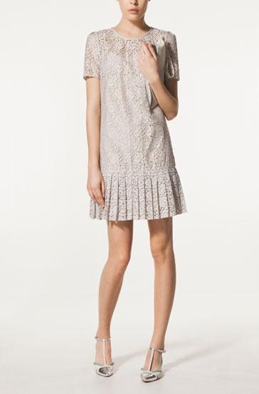 Lace dress with box pleats