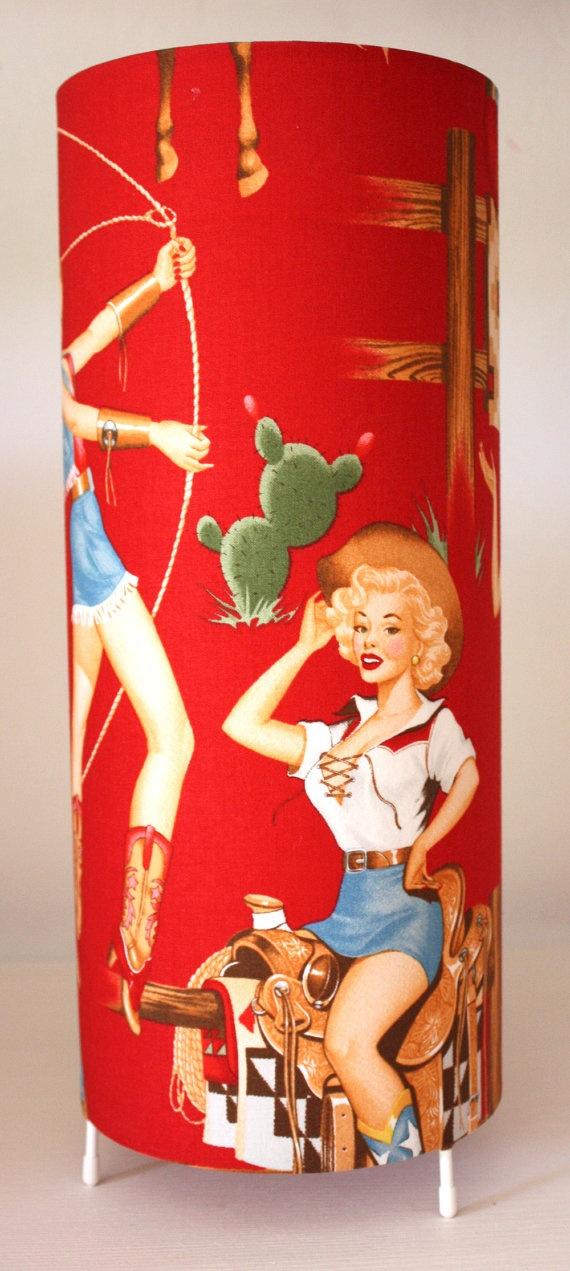 retro red pinup cowgirl lamp