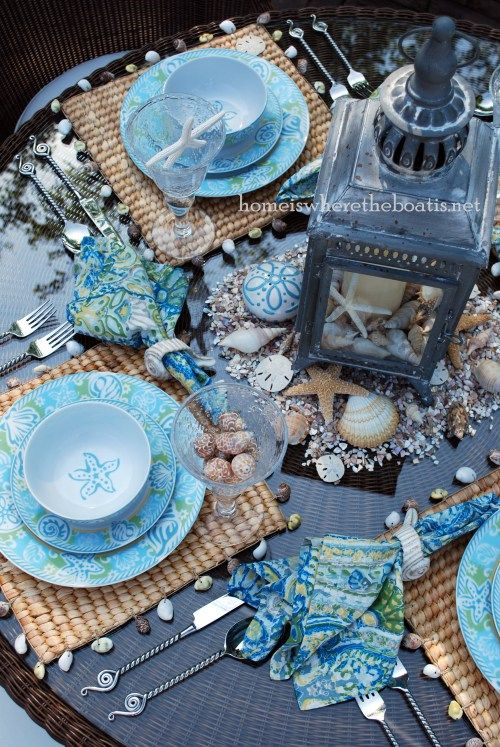 Pfaltzgraff Seaside Dinnerware coastal tablescape | Home is Where the Boat Is!!! Bebe'!!! Love this beautiful table setting!!!